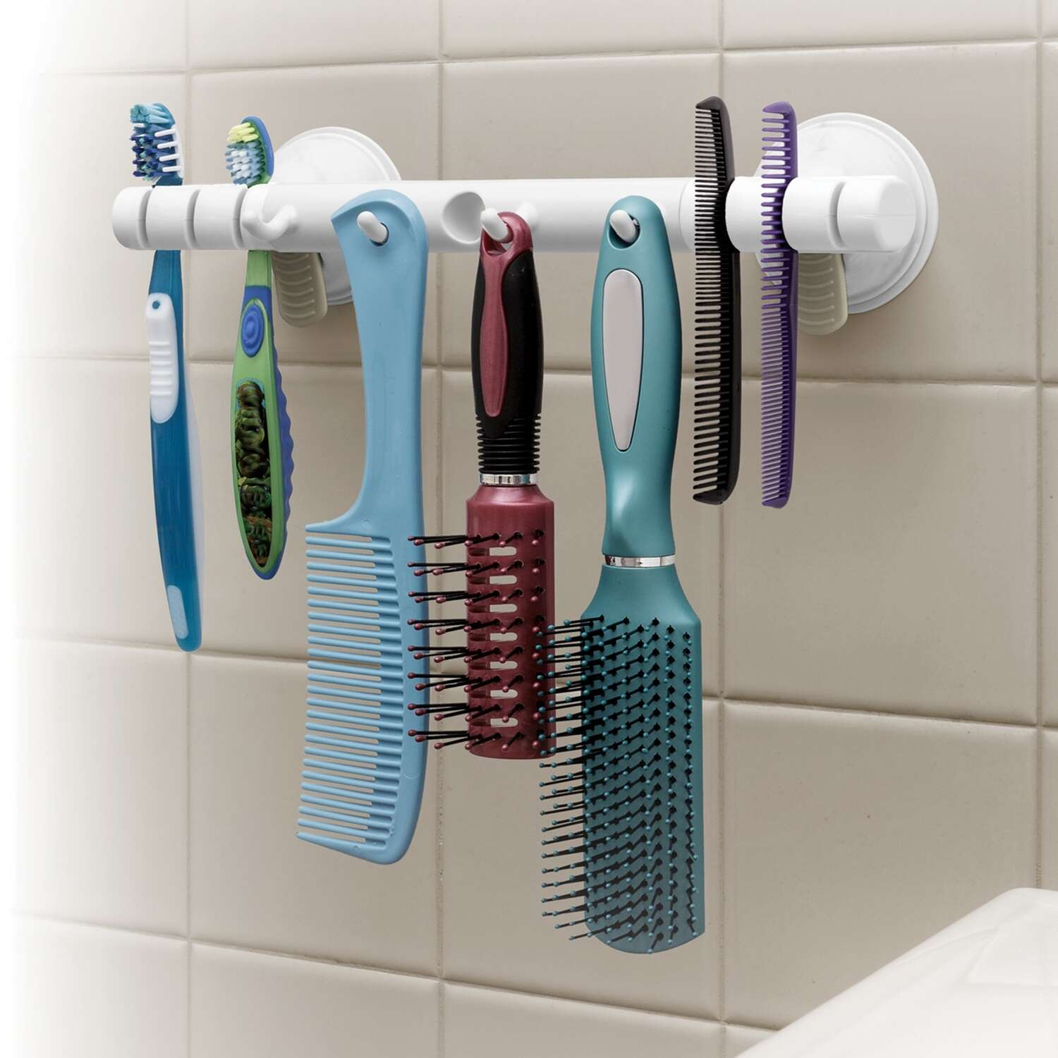 Safe-Er-Grip  Caddy/Razor/Toothbrush Holder  11.1 in. L x 2.5 in. H x 2.8 in. W White  Plastic  Brig