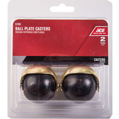 Ace  2 in. Dia. Swivel Rubber  Hooded Ball Caster  80 lb. 2 pk