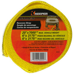 Keeper  2 in. W x 20 ft. L Yellow  Vehicle Recovery Strap  7000 lb. 1 pk