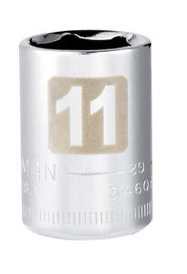 Craftsman  11 mm  x 1/4 in. drive  Metric  6 Point Standard  Socket  1 pc.