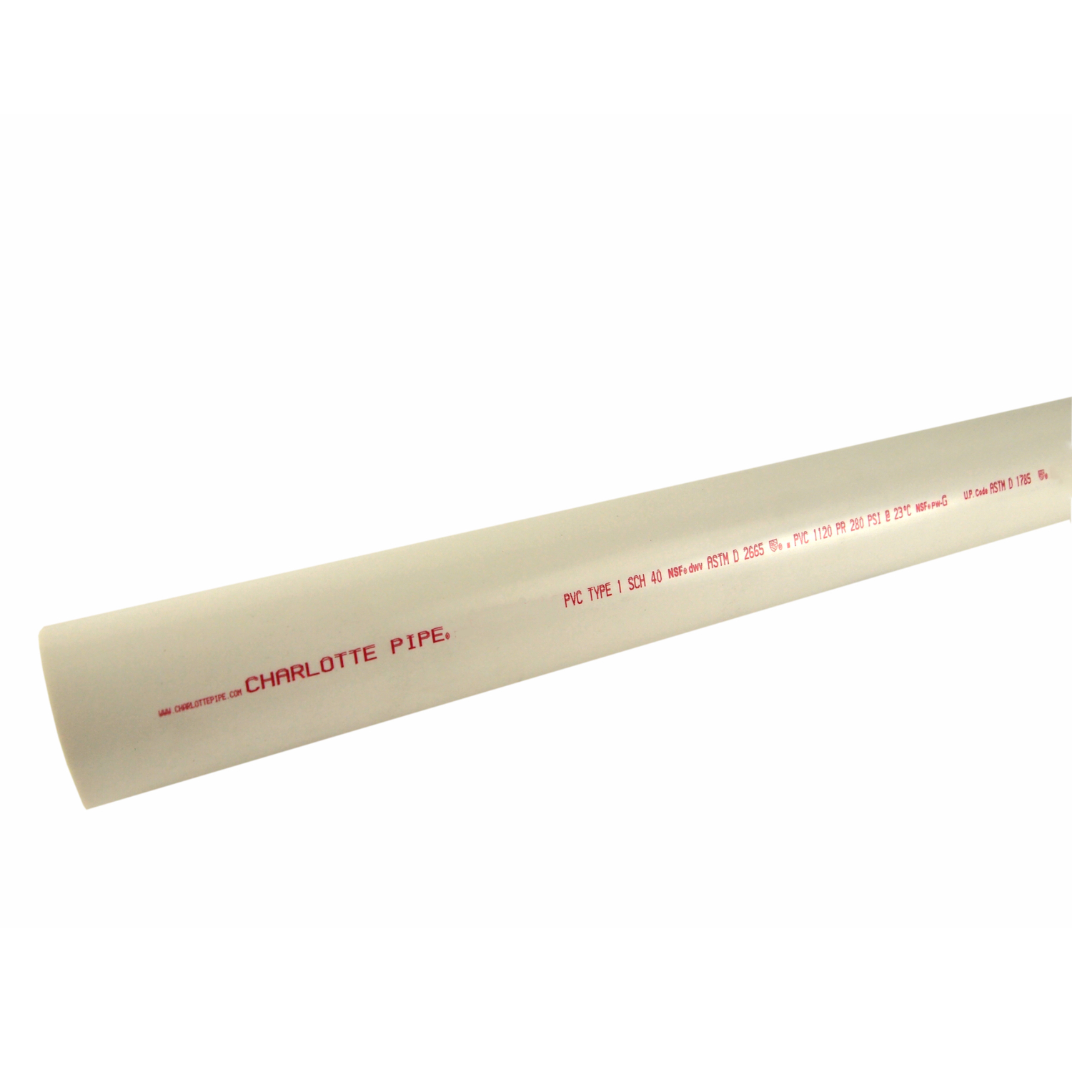 Charlotte Pipe  PVC Pipe  1-1/2 in. Dia. x 10 ft. L Plain End  Schedule 40  330 psi