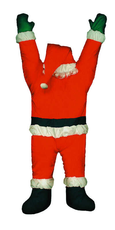Gemmy  Santa Hanging From Gutter  Christmas Decoration  Red  1 pk Polyester