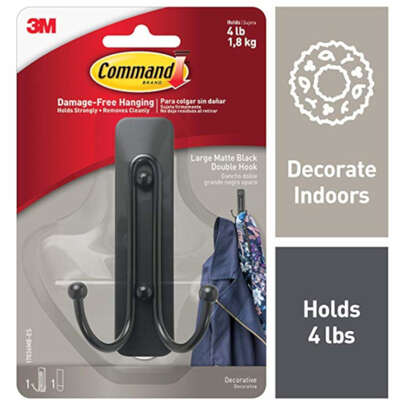 3M Command 2 in. L Matte Black Metal Large Double Hook 4 lb. capacity 1 pk
