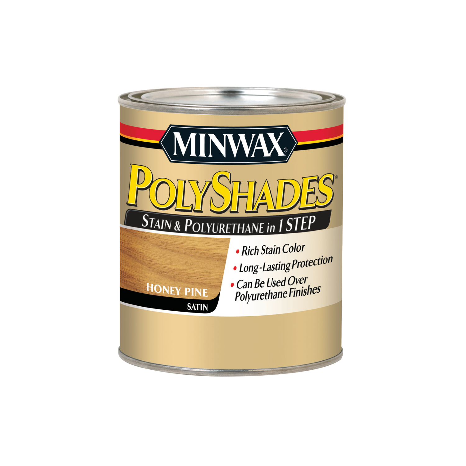 Minwax  PolyShades  Semi-Transparent  Satin  Honey Pine  Oil-Based  Polyurethane Stain  1 qt.
