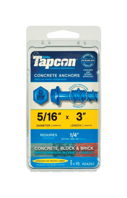 Tapcon  5/16 in. Dia. x 3 in. L Steel  Hex  15 pk Concrete Screw Anchor