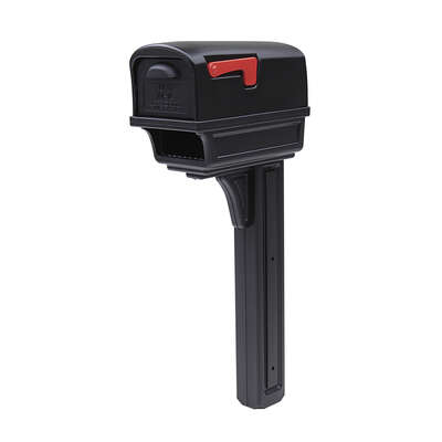 Gibraltar Mailboxes Gentry Classic Plastic Post Mount Black Mailbox