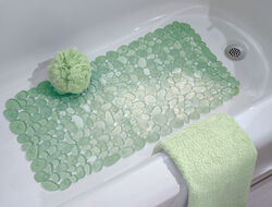 InterDesign  26-1/2 in. L x 13-1/2 in. W Green  Vinyl  Bath Mat