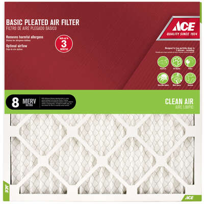 Ace 20 in. W x 30 in. H x 1 in. D Cotton 8 MERV Pleated Air Filter