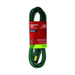 Ace  Indoor  15 ft. L Green  Extension Cord  16/2 SPT-2