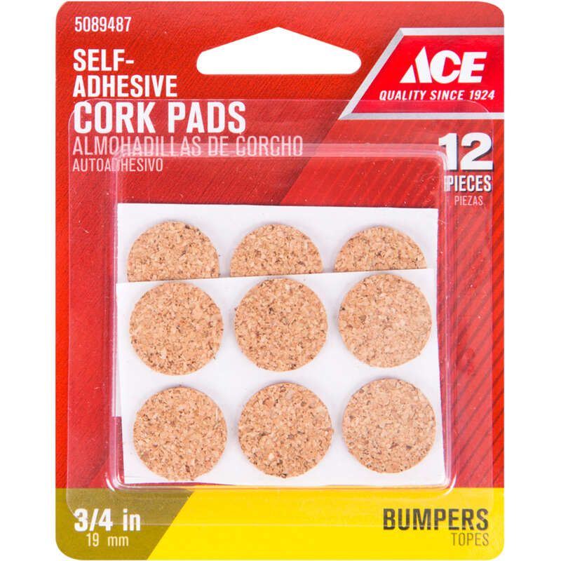 Ace  Cork  Self Adhesive Bumper Pads  Brown  Round  3/4 in. W 12 pk
