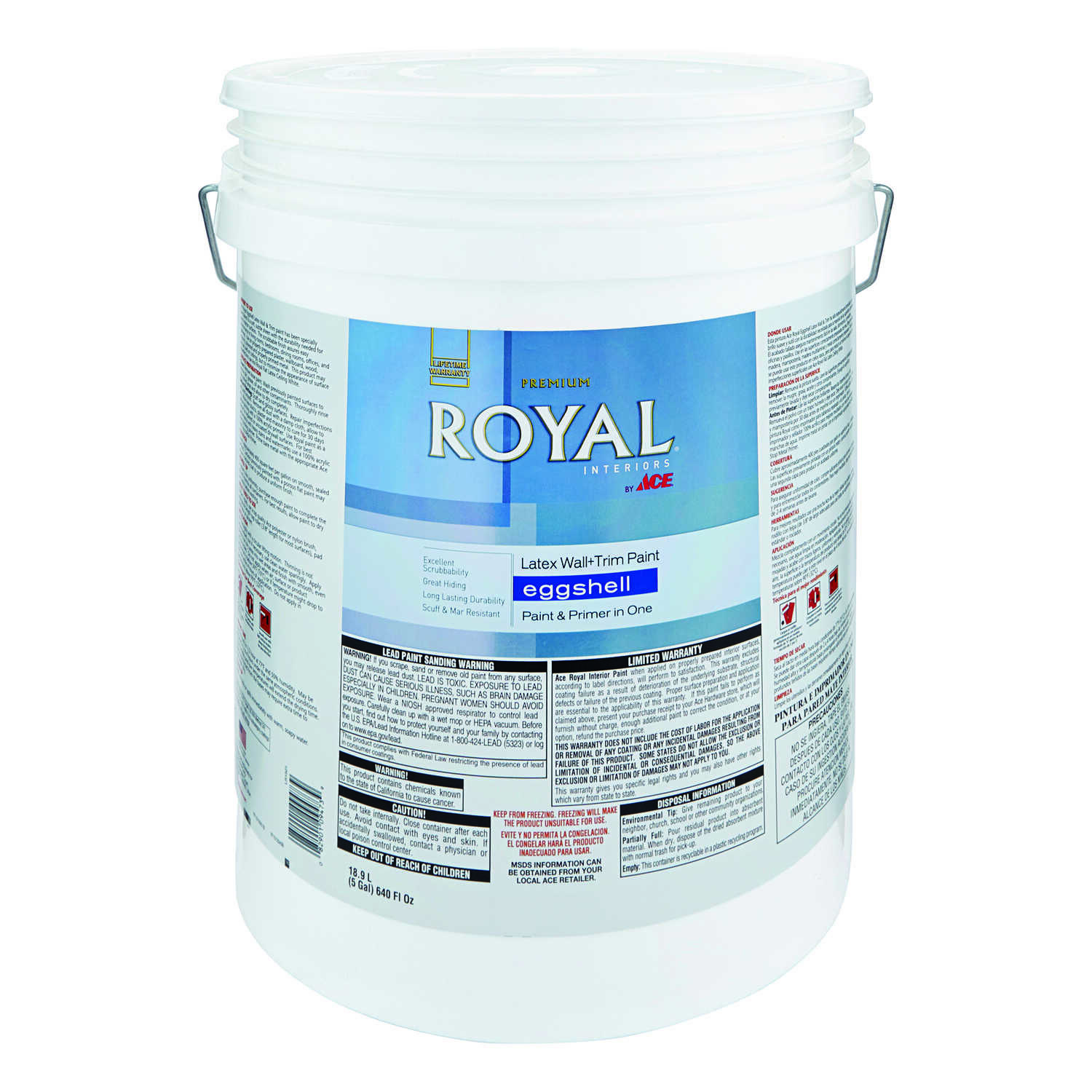 Ace  Royal  Eggshell  Neutral Base  Vinyl Acetate/Ethylene  Interior Latex Wall+Trim Paint  5 gal.