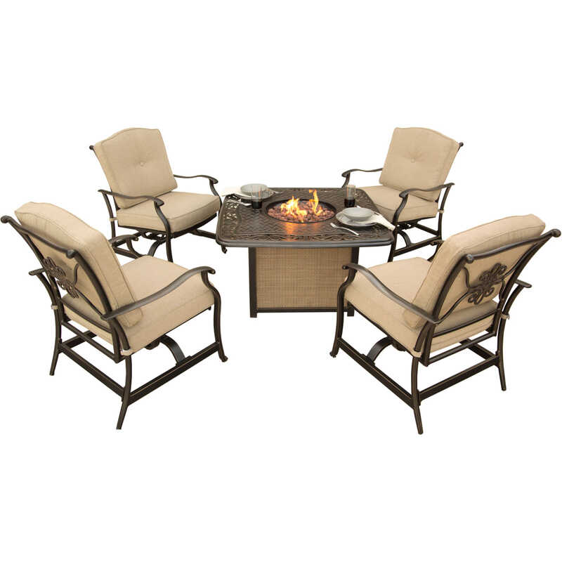 Hanover  5 pc. TanBronze  Aluminum  Firepit Set  Tan