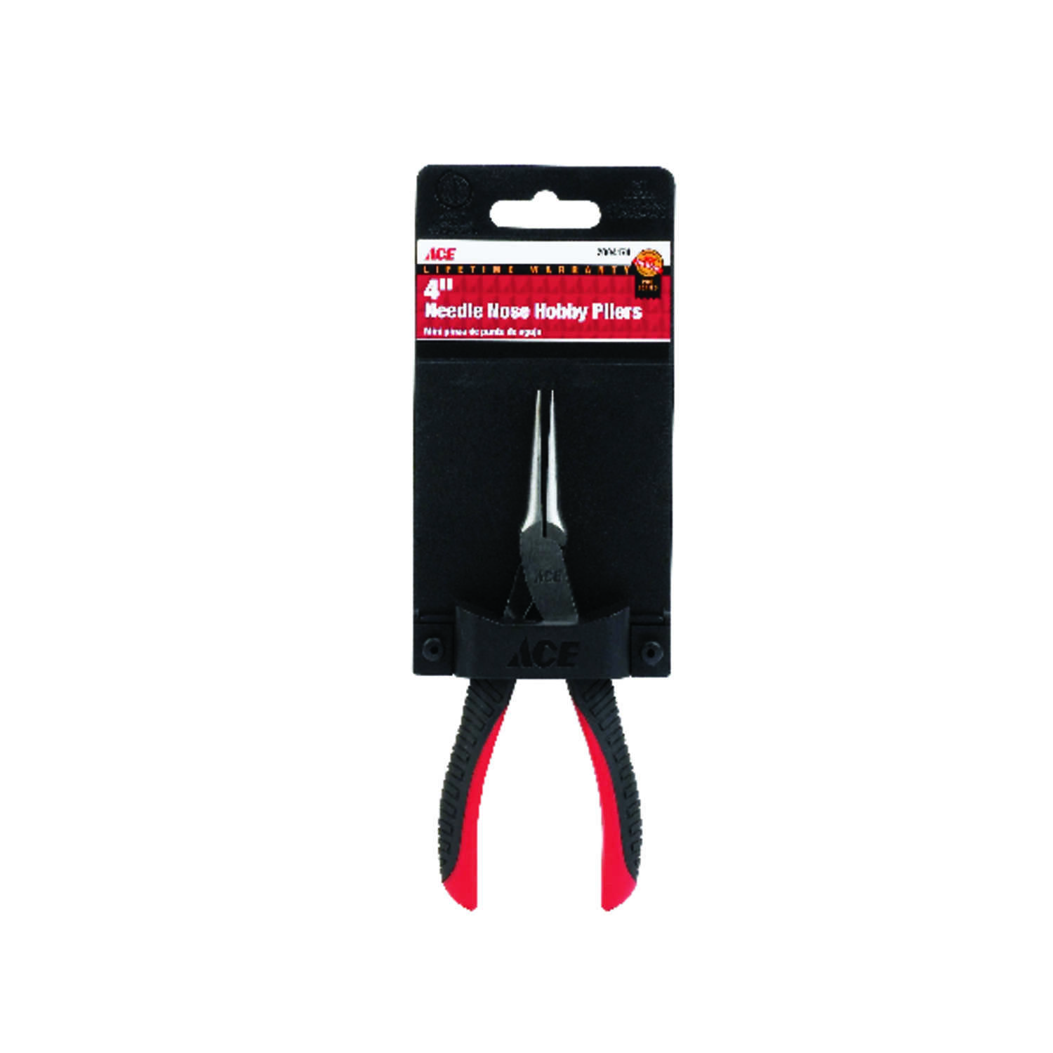 Ace  4 in. Alloy Steel  Needle Nose Hobby Pliers  Red  1 pk