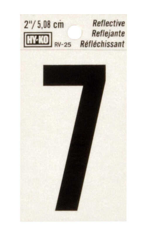 Hy-Ko  2 in. Reflective Vinyl  Black  7  Number  Self-Adhesive