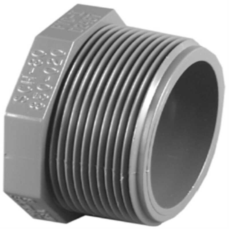 Charlotte Pipe  Schedule 80  1-1/2 in. MPT   x 1-1/2 in. Dia. MPT  PVC  Threaded Plug