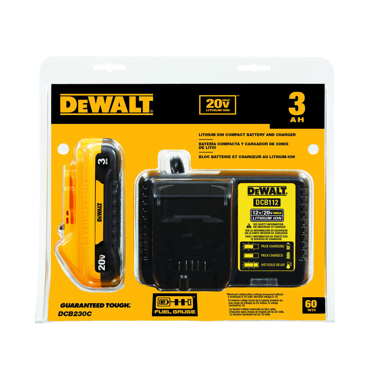 DeWalt  20V MAX  20 volt 3 Ah Lithium-Ion  Compact  Battery and Charger Starter Kit  2 pc.