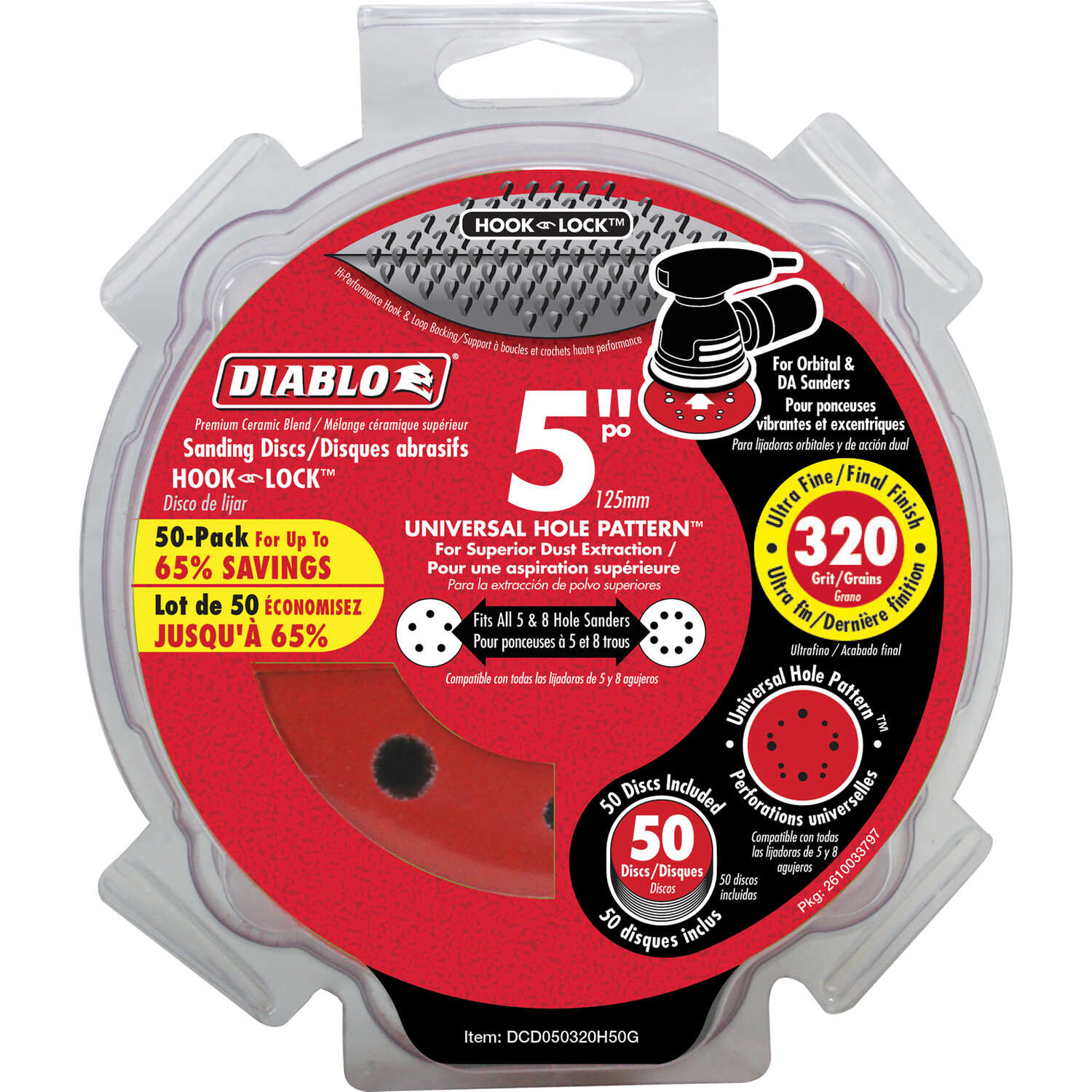 Diablo  5 in. Ceramic Blend  Hook and Loop  Sanding Disc  320 Grit Ultra Fine  50 pk