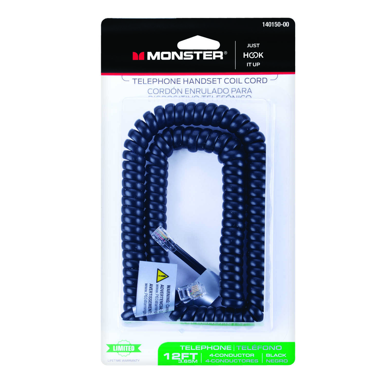Monster Cable Telephone Handset Coil Cord 4 Conductor 12 ft. Black Card