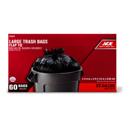 Ace 33 gal. Trash Bags Flap Tie 60 pk