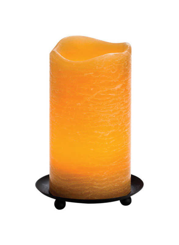 Inglow  Cinnamon Chai Scent Honey  Rustic Pillar  Candle  6 in. H