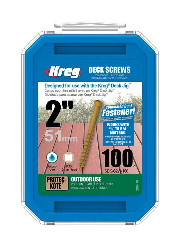 Kreg  No. 8   x 2 in. L Square  Flat Head Steel  Deck Screws  100 lb. 100 pk