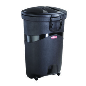 Rubbermaid  32 gal. Plastic  Wheeled Garbage Can  Lid Included
