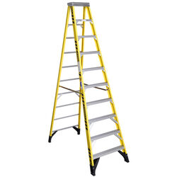 Werner 10 ft. H x 32 in. W Fiberglass Step Ladder Type IAA 375 lb. capacity