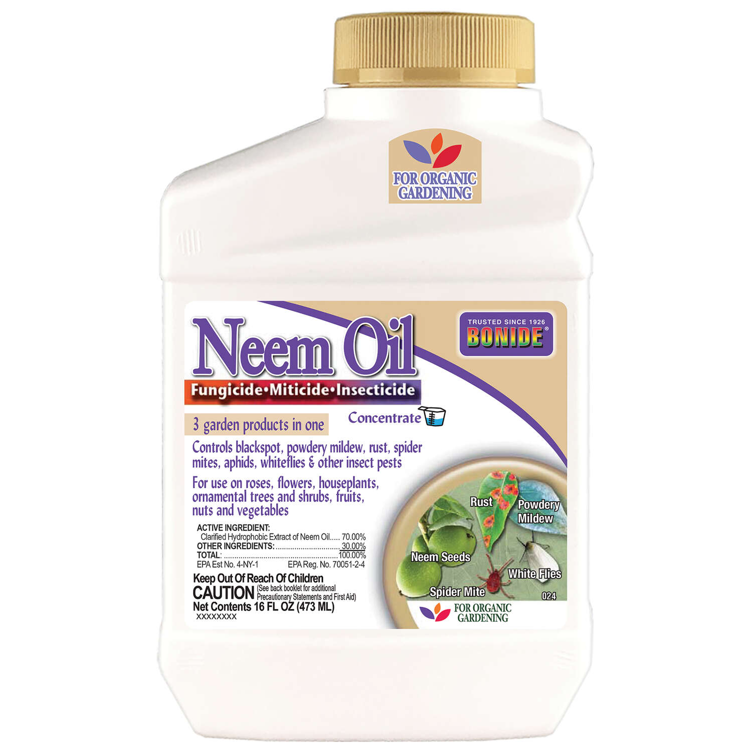 Bonide  Neem Oil  Organic Liquid Concentrate  Insect, Disease & Mite Control  16 oz.