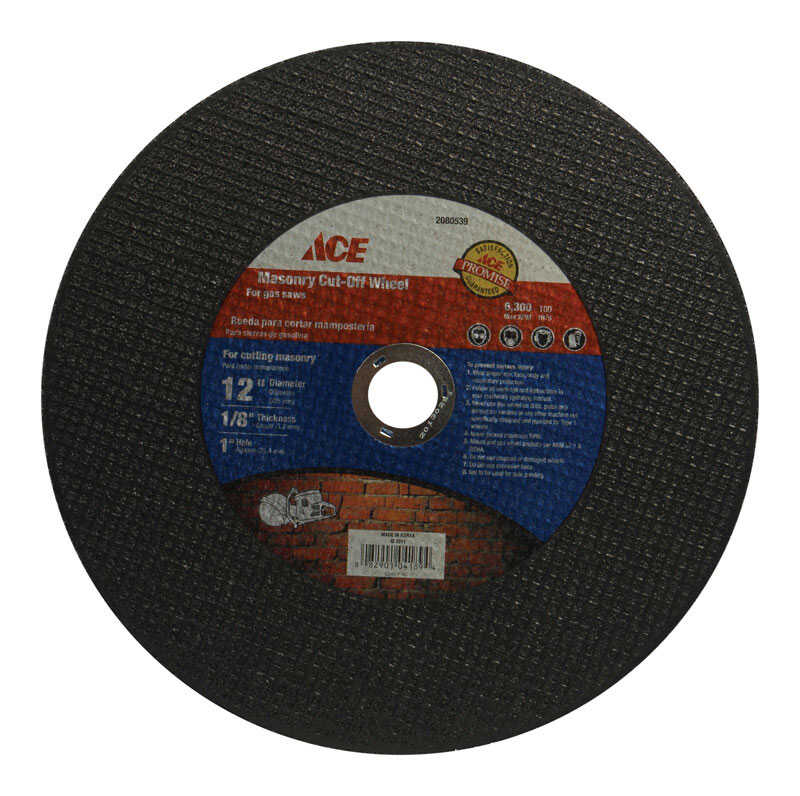 Ace  12 in. Metal/Steel  Masonry Cut-Off Blade  0.125 in.  x 1 in.  1 pc.