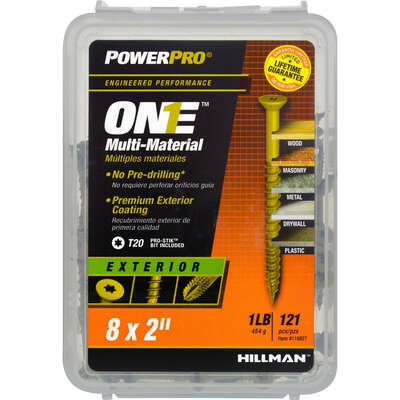 Hillman  POWERPRO ONE  No. 8   x 2 in. L Star  Flat Head Multi-Material Screw  1 lb. 121 pk