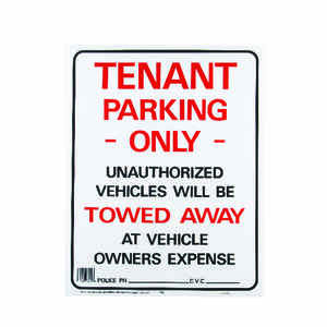 Hy-Ko  English  Tenant Parking Only/Unauthorized Vehicles will be towed away  Sign  Plastic  19 in.