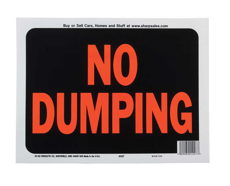 Hy-Ko  English  9 in. H x 12 in. W Plastic  Sign  No Dumping