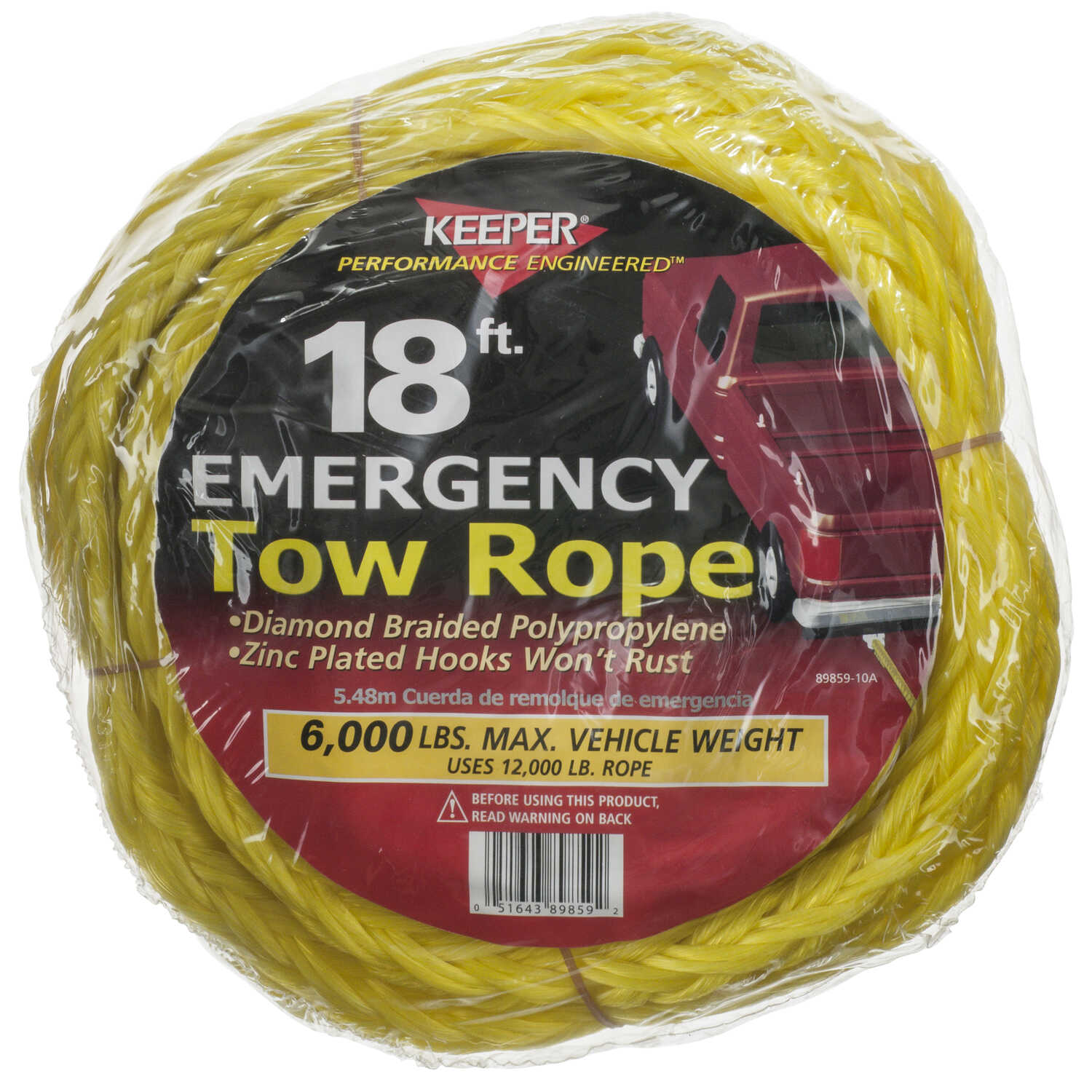 Keeper  18 ft. L Yellow  Tow Rope  6000 lb. 1 pk