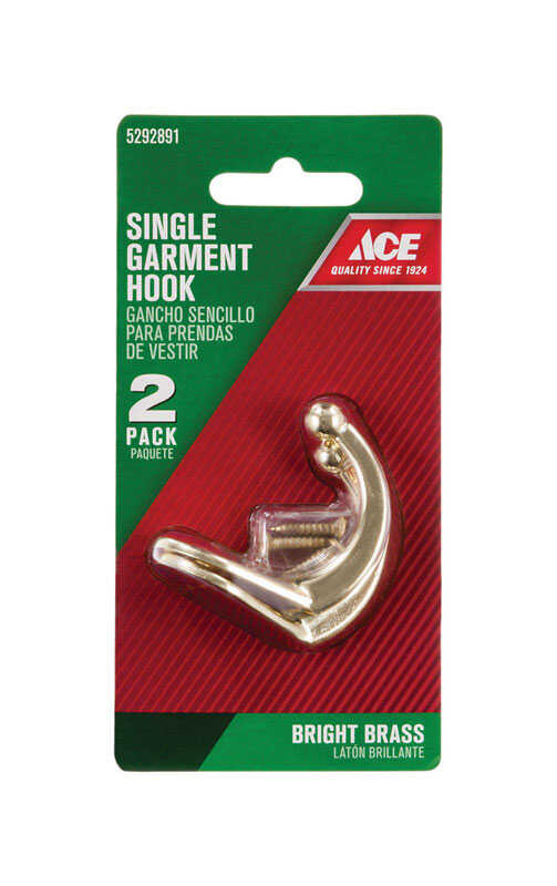 Ace  1-3/4 in. L Bright Brass  Gold  Brass  Small  Single Garment  Hook  2 pk