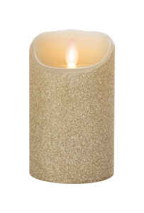 Iflicker  Gold Glitter  Unscented Scent Pillar  Flameless Flickering Candle  5 in. H x 3 in. Dia.