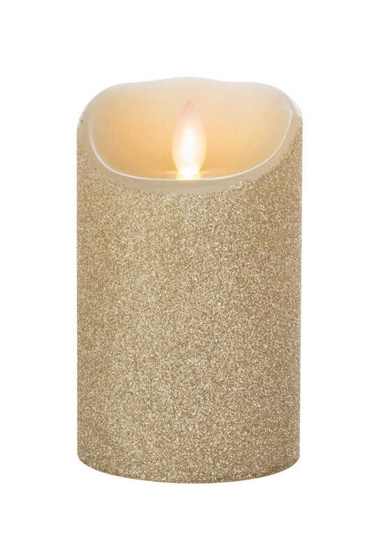 Iflicker  Gold Glitter  Pillar  Flameless Flickering Candle  5 in. H x 3 in. Dia.