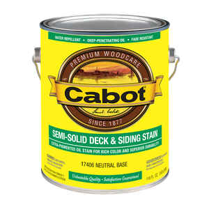 Cabot  Semi-Solid Deck & Siding Stain  Semi-Solid  Tintable Neutral Base  Oil-Based  Natural Oil/Wat
