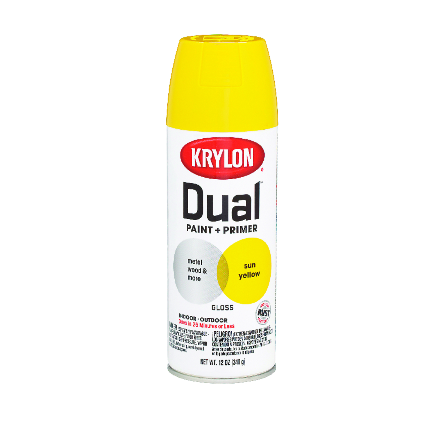 Krylon  Dual Superbond  Gloss  Sun Yellow  Paint + Primer Spray  12 oz.