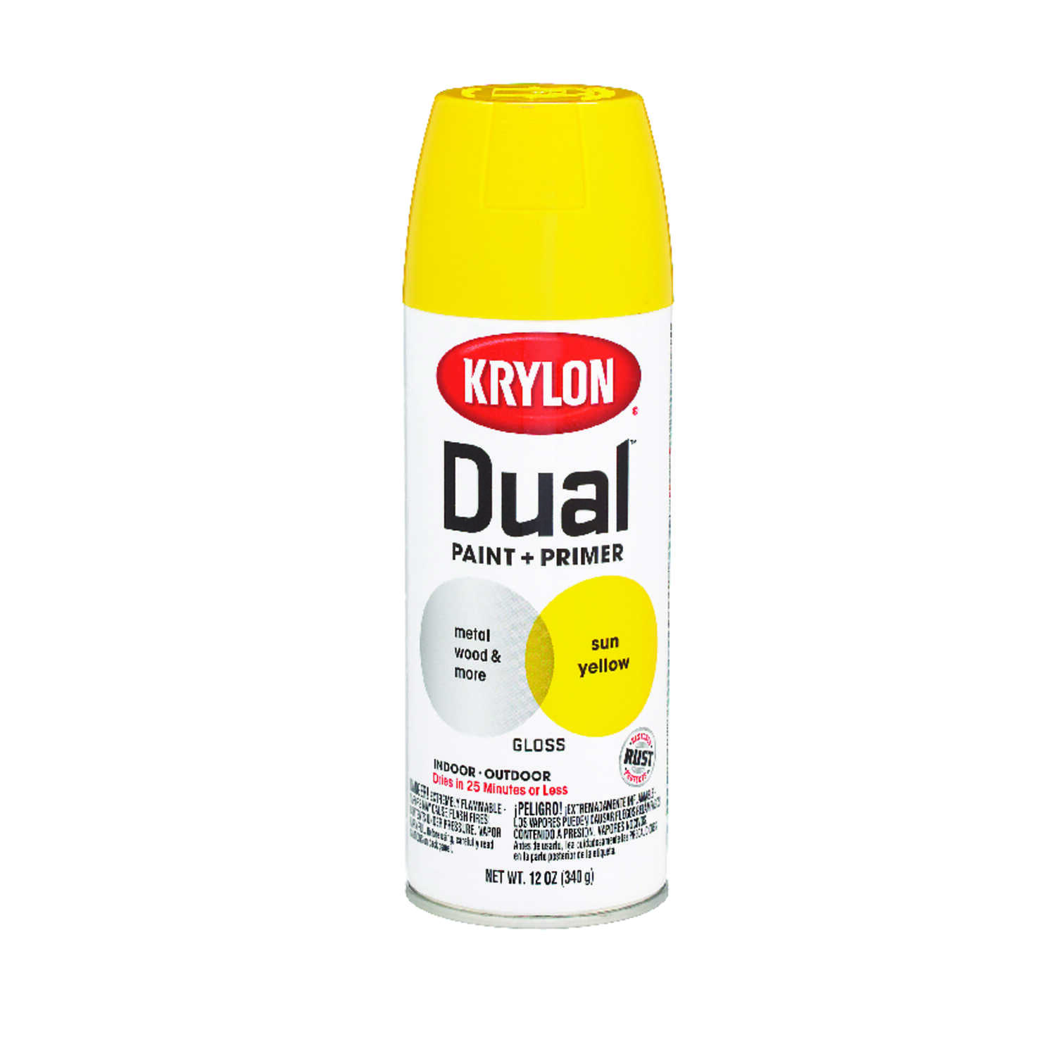 Krylon  Dual Superbond  Gloss  Paint + Primer Spray  12 oz. Sun Yellow