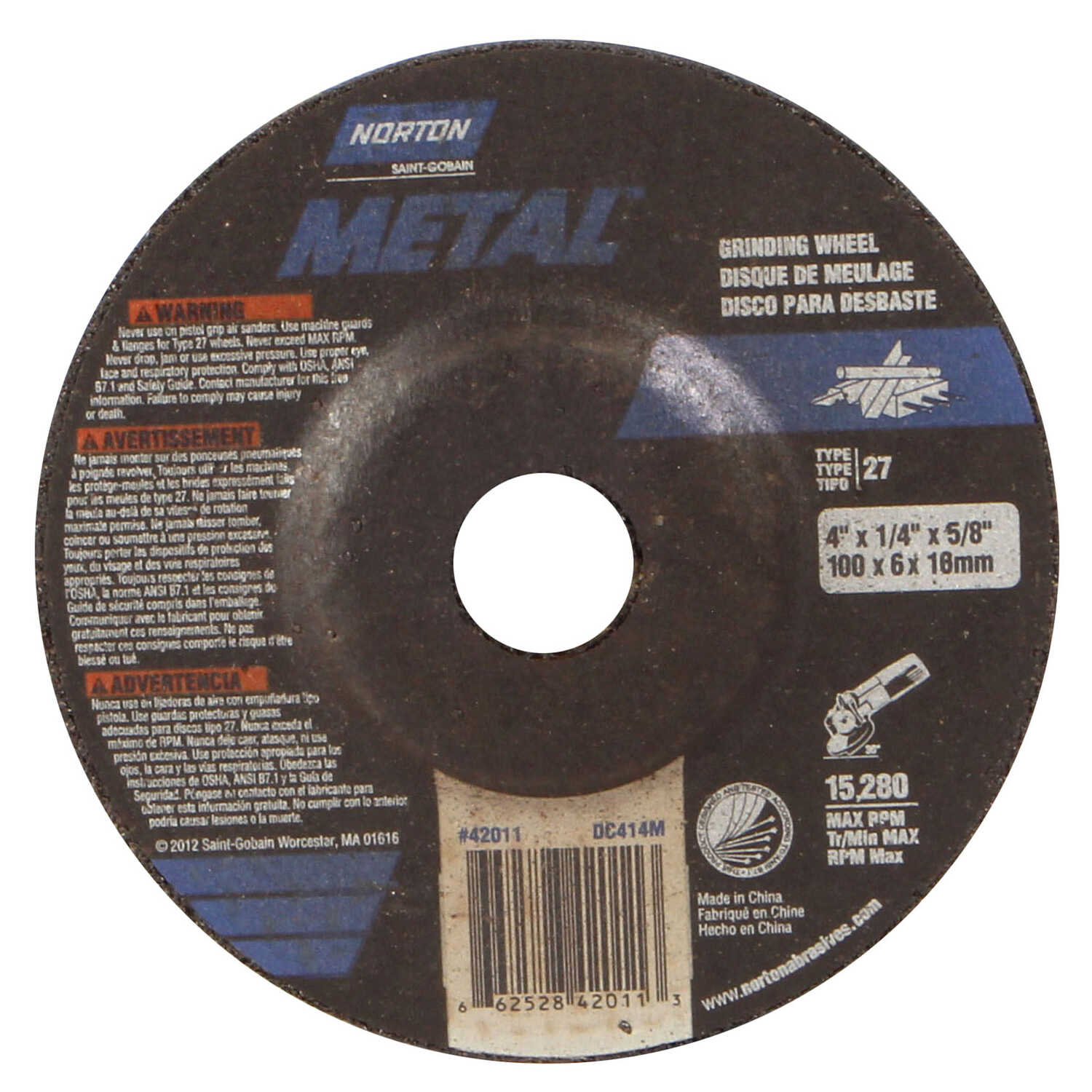 Norton  4 in. Dia. x 1/4 in. thick  x 5/8 in.   Aluminum Oxide  Grinding Wheel  15280 rpm 1 pc.