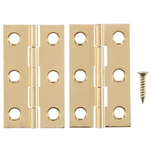 Ace  2 in. W x 1-3/16 in. L Polished Brass  Brass  Medium Hinge  2 pk