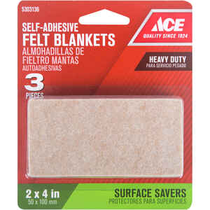 Ace  Felt  Self Adhesive Blanket  Brown  Rectangle  2 in. W x 4 in. L 3 pk