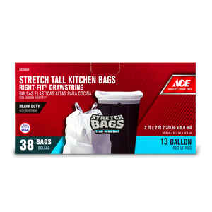 Ace  Right-Fit  13 gal. Tall Kitchen Bags  Drawstring  38 pk