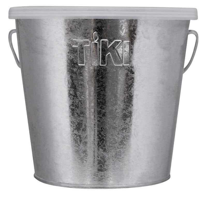 Tiki  Galvanized  Candle Bucket  Wax  For Mosquitoes 17 oz.