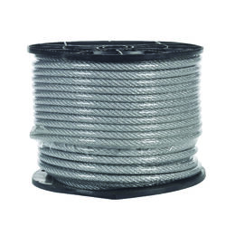 Campbell Chain  Clear Vinyl  Galvanized Steel  1/4 in. Dia. x 200 ft. L Aircraft Cable