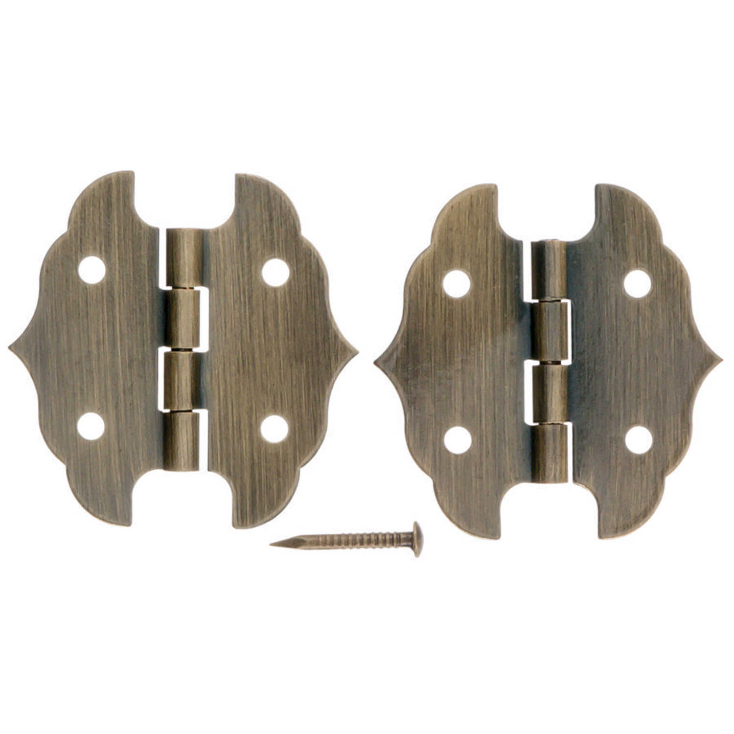Ace  1-1/8 in. W x 1-1/8 in. L Antique Brass  Brass  Decorative Hinge  2 pk