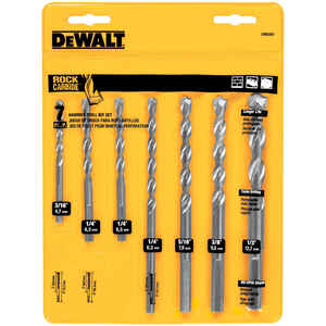 DeWalt  Rapid Load  Multi Size  Dia. x Multiple  L Carbide  Masonry Drill Bit Set  Hex Shank  7 pc.