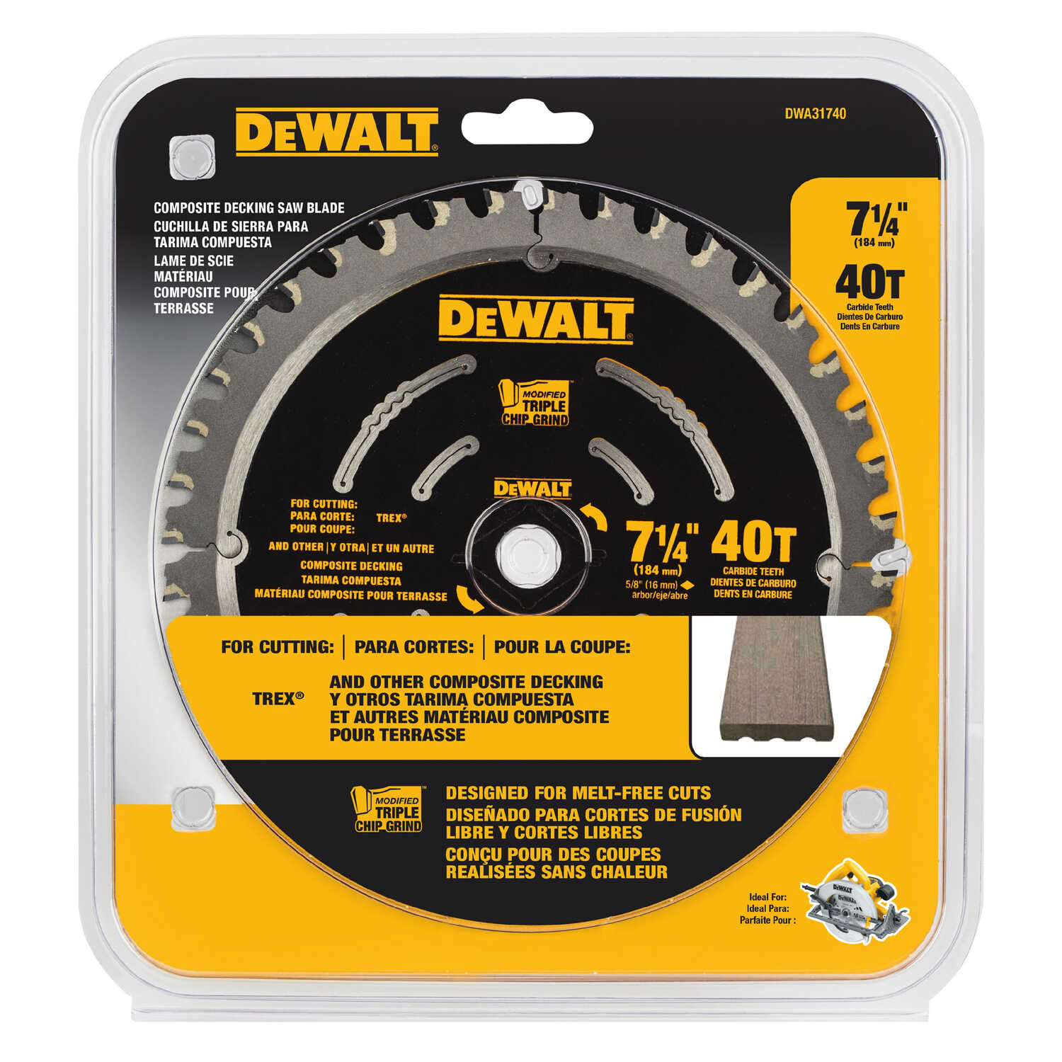 DeWalt  7-1/4 in. Dia. x 5/8 in.  Carbide Tipped Steel  Saw Blade  40 teeth 1 pk