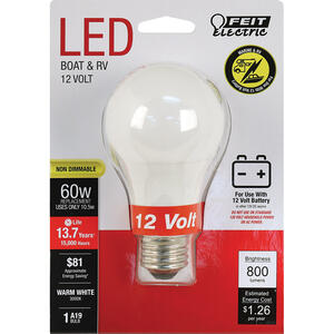 FEIT Electric  12-Volt  A19  E26 (Medium)  LED Bulb  Warm White  60 Watt Equivalence 1 pk