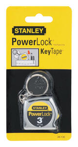 Stanley  PowerLock  3 ft. L x 0.25 in. W Key Chain Tape Measure  Silver  1 pk